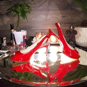 Nine West Heels Shoe Size 7.5 New Red Open Toe